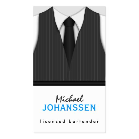Dark Gray Pinstripe Vest White Shirt and Black Tie Bartender Business Cards