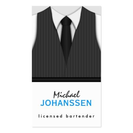 Dark Gray Pinstripe Vest White Shirt and Black Tie Bartender Business Cards