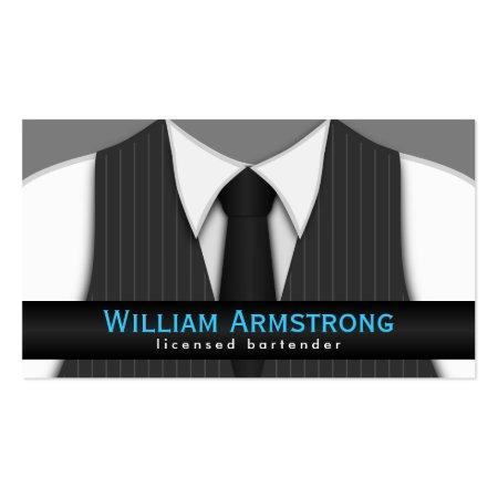 Grey Pinstripe Vest and Tie Bartender Business Cards