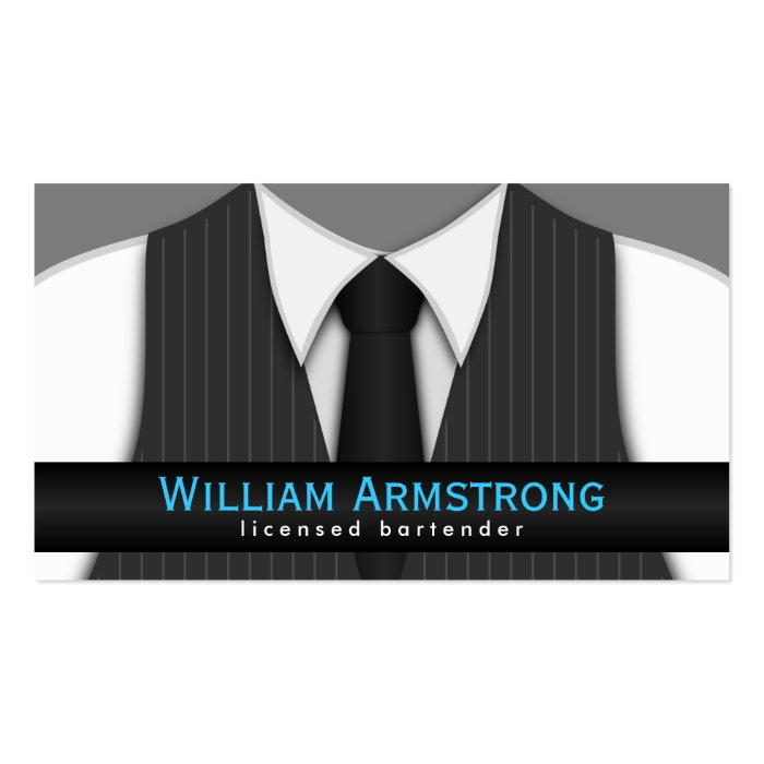 pinstripe suit vest tie bartender business cards