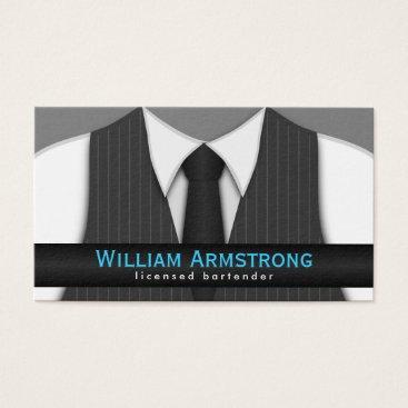 Professional Business Pinstripe Suit Vest Tie Bartender Business Cards