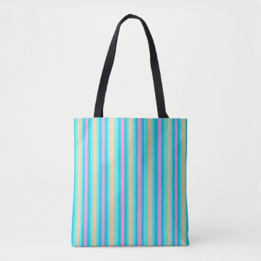 Beach Themed Pinstriped Aqua/Pink/Gold>  Patterned Tote Bags