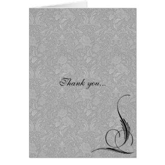 Pinstriped Gray Damask Goth Wedding Card