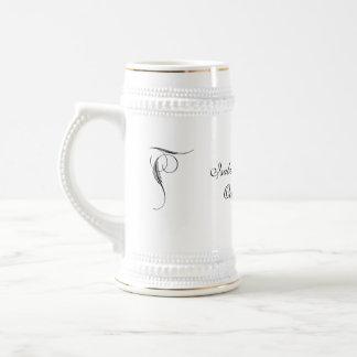 Pinstriped Gray Damask Goth Wedding Mug