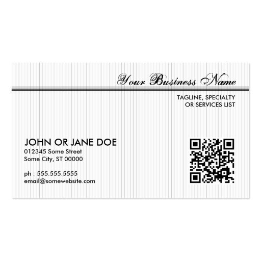 pinstriped QR code Business Cards