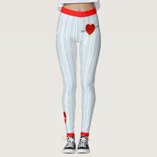 Pinstriped Sign Your Name Heart Blue(custom.) Leggings