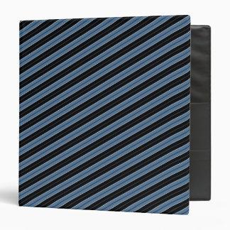 Pinstripes blue black white diagonal stripes binder