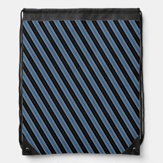 Pinstripes blue black white diagonal stripes drawstring backpack