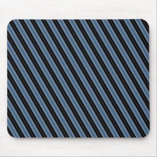 Pinstripes blue black white diagonal stripes mouse pad