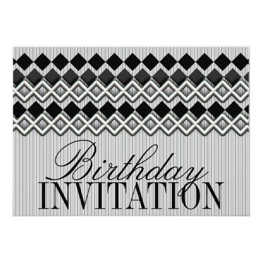 Pinstripes & Diamonds Birthday Party Invitation