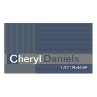 Pinstripes Monogram Initials Event Planner slate Business Card Template