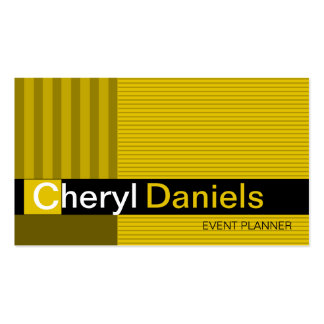 Pinstripes Monogram Initials Event Planner yellow Business Card Template