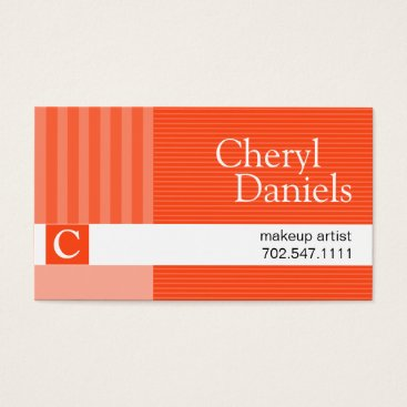 Professional Business Pinstripes Monogram Initials Makeup Artist orange Business Card