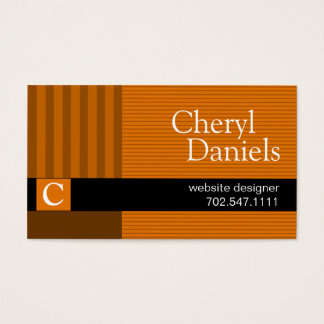 Pinstripes Monogram Initials Web Designer pumpkin Business Card