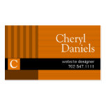 Pinstripes Monogram Initials Web Designer pumpkin Double-Sided Standard Business Cards (Pack Of 100)