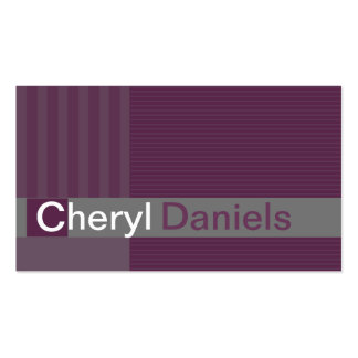 Pinstripes Monogram Initials Web Designer purple1 Double-Sided Standard Business Cards (Pack Of 100)