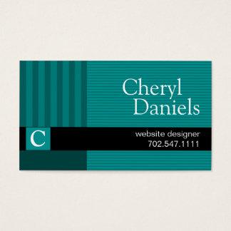 Pinstripes Monogram Initials Web Designer teal Business Card