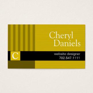 Pinstripes Monogram Initials Web Designer yellow Business Card