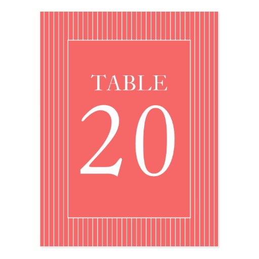 Pinstripes Table Numbers (Coral / White) Postcard