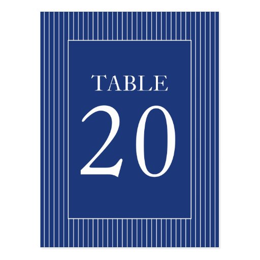 Pinstripes Table Numbers (Navy Blue / White) Post Cards