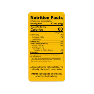 Pint Honey Jar Nutrition Facts Label