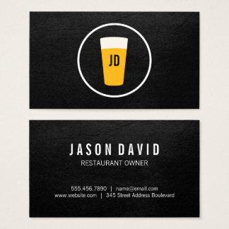 Pint of Beer Logo Trendy Black Business Card