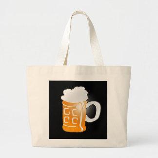 Pint of Beer Mug Design, Black Background Tote Bag