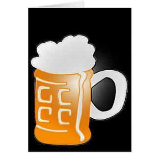 Pint of Beer Mug Design, Black Background Greeting Card