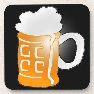 Pint of Beer Mug Design, Black Background Beverage Coaster