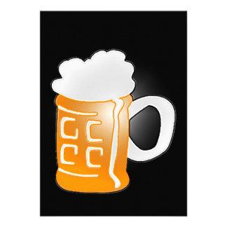 Pint of Beer Mug Design, Black Background Personalized Invites