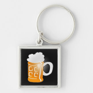Pint of Beer Mug Design, Black Background Keychain