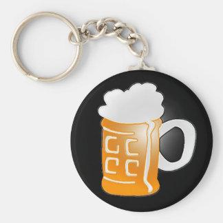 Pint of Beer Mug Design, Black Background Keychain