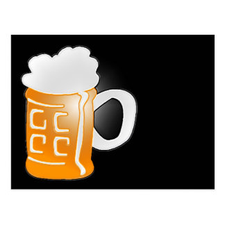 Pint of Beer Mug Design, Black Background Postcard