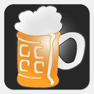 Pint of Beer Mug Design, Black Background Square Sticker
