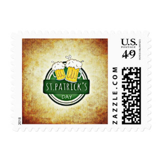 Pint of Beer Vintage St Patrick's Day Irish Stamp