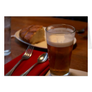 Pint Of Beer With Some Bread Greeting Cards