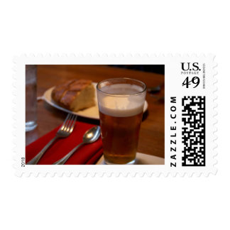 Pint Of Beer With Some Bread Postage Stamp