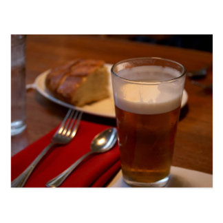 Pint Of Beer With Some Bread Postcard