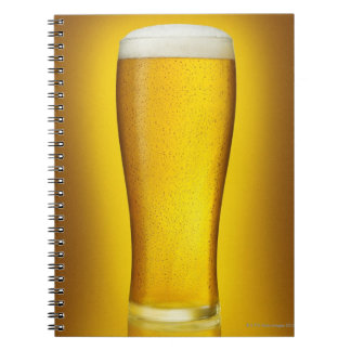 Pint of beer with spritz spiral note book