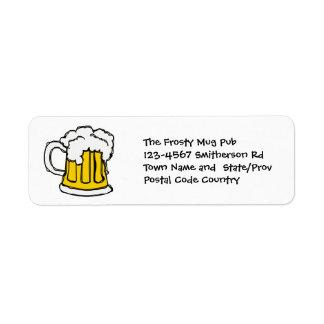 Pinta de cerveza burbujeante para el Pub, la cerve Etiqueta De Remite