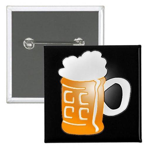 Pinta del diseño de la taza de cerveza, fondo negr pin cuadrada 5 cm
