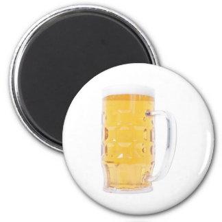Pinta grande del vidrio de la jarra de cerveza de imán redondo 5 cm