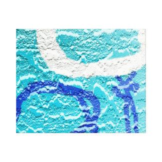 pintada abstracta blanca azul de la imagen de la impresion de lienzo