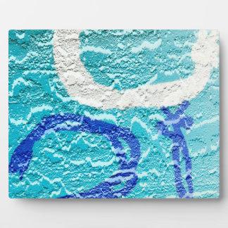 pintada abstracta blanca azul de la imagen de la placa de plastico