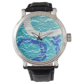 pintada abstracta blanca azul de la imagen de la relojes