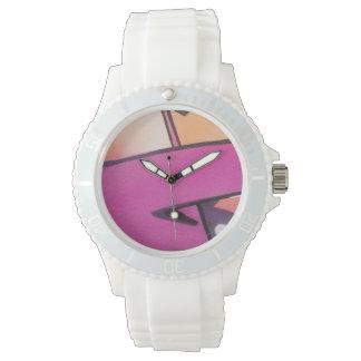 Pintada abstracta en rosa reloj