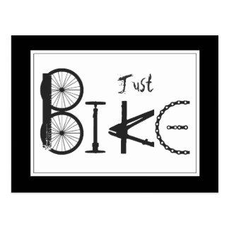 "Pintada ""apenas de la bici"" de piezas de la bici y tarjeta postal"