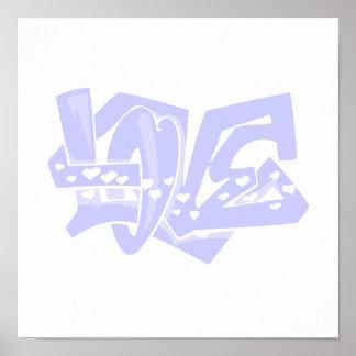 Pintada azul del amor de la lavanda poster