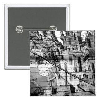 Pintada blanco y negro en San Francisco Pin Cuadrado