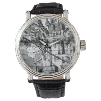 Pintada blanco y negro en San Francisco Relojes De Pulsera